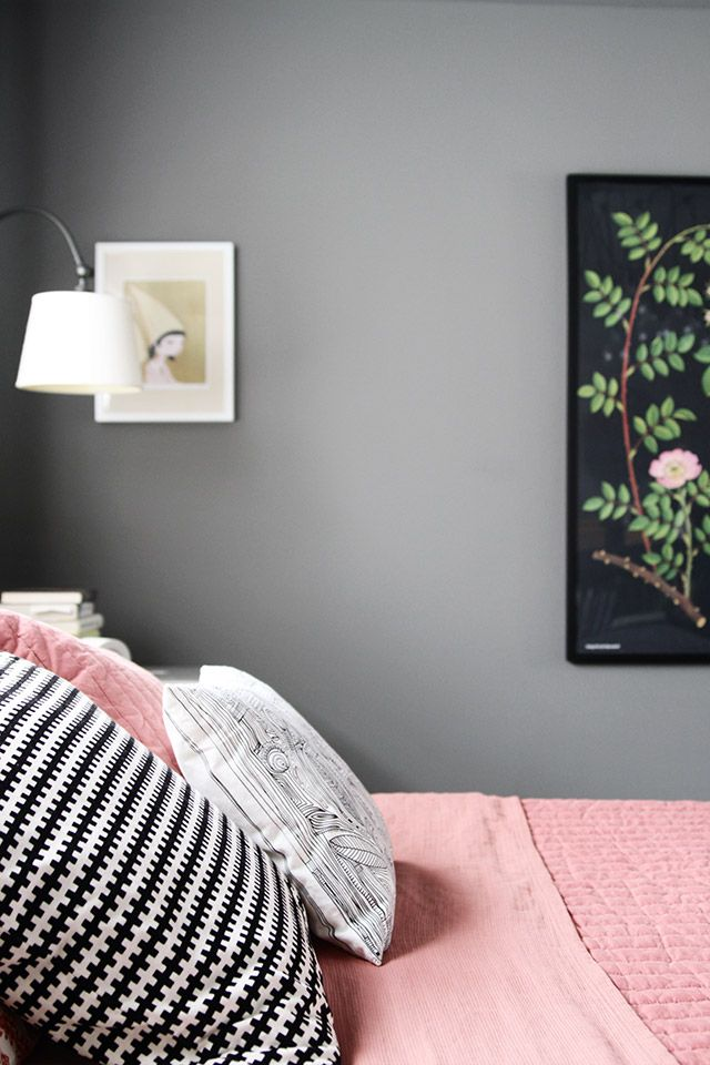 Pink and Gray Bedroom with Black and White, Making it Lovely