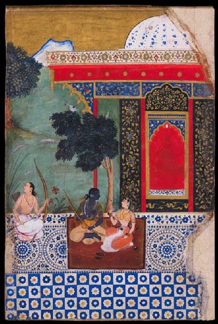 Mughal Manuscript Illustration: Rama's forest dwelling in Panchvati, north India, c. 1605