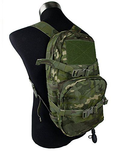 """Outdoor Hiking Modular Assault Pack 3L Hydration Bag Multicam Tropic backpack. Brand: TMC. Attaches to your vest via MOLLE webbing. Main Compartment: 8.5"""" x 17"""" x 3.5"""" = 903 cu in (21.59 x 43.18 x 8.89 = 5.83 L). Cargo Pocket: 9.75"""" x 8.5"""" x 2.75"""" = 228 cu in (24.76 x 21.59 x 6.98 = 1.86 L). Material : PenCott Badla."""