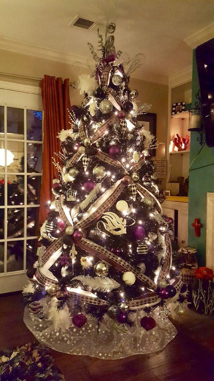 black and purple tree harlequin pattern harlequin patternpurple treeschristmas decorationschristmas - Black Christmas Tree With Purple Decorations