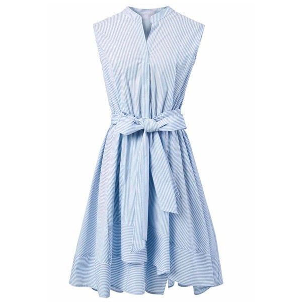 Chicwish Summer Bliss Blue Stripes Flare Dress found on Polyvore featuring dresses, blue, vestido, pastel blue dress, blue striped dress, blue dress, ruched dress and pastel dresses