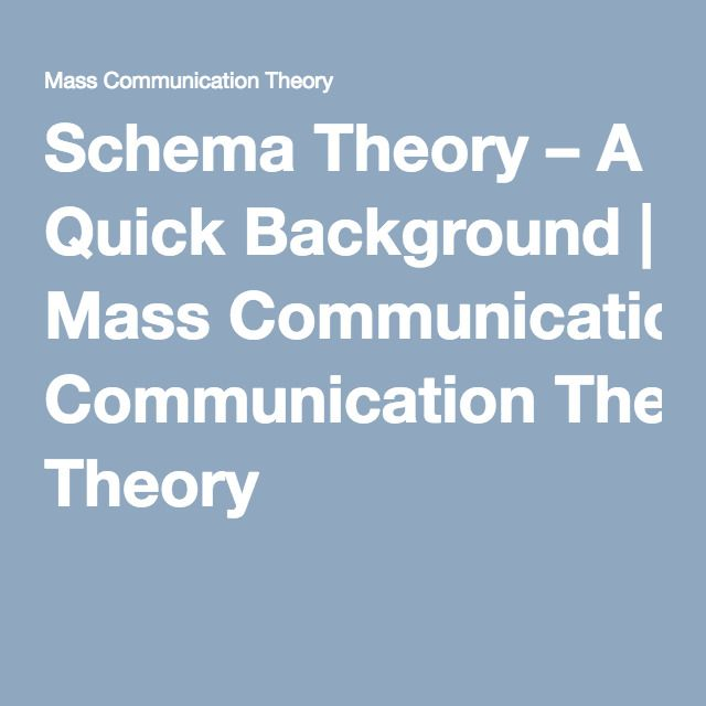 schema theory a quick background Revisiting determinants of sports sponsorship response: a schema theory perspective background consumer attitudes.
