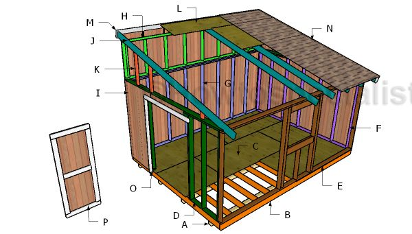 12×16 Lean to Shed Roof Plans