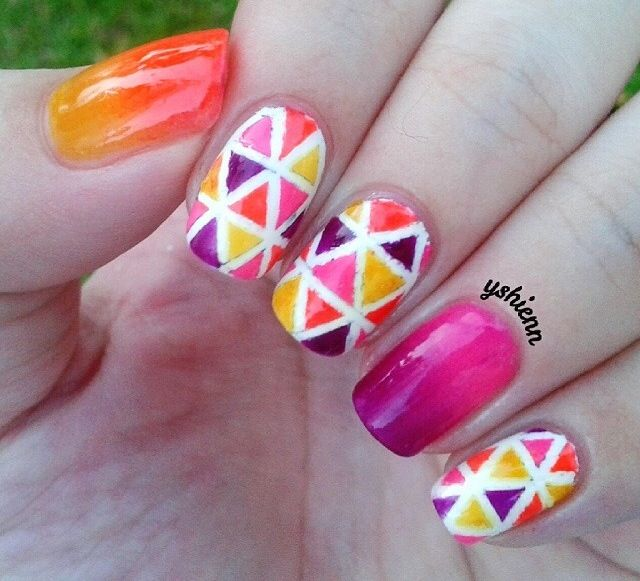 Colorful Summer/autumn Nails With Orange And Pink Ombré