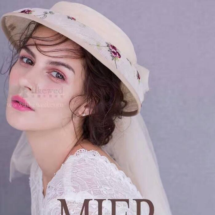 The new bride hat headdress flower hat hat factory direct fashion bride handmade hat headdress