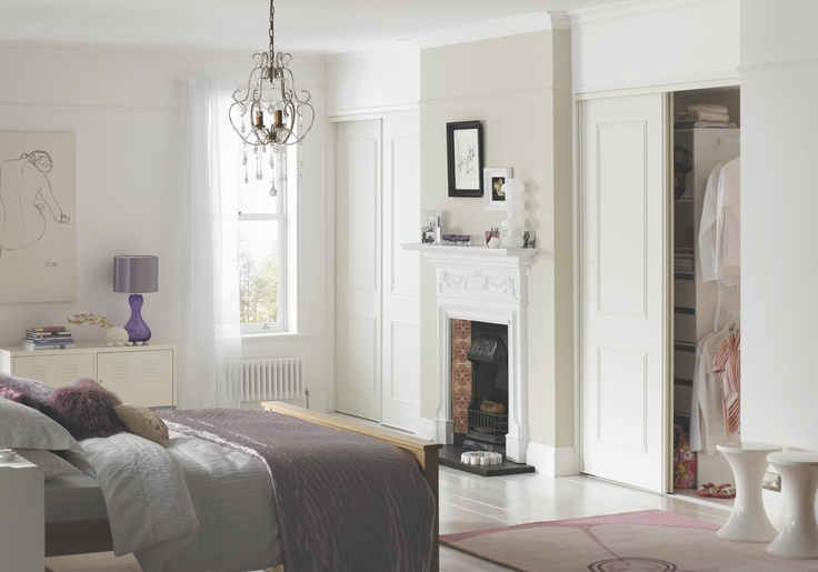 The classic inset panelling detail on these crisp white doors creates a Regency feel, combining a traditional look with a thoroughly modern storage concept. #bedroomfurniture