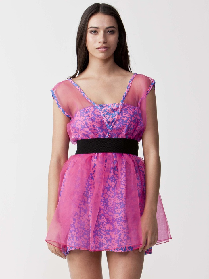 Sin - Petite Chiffon Skater Dress with bandeau neckline. Chiffon Shoulder panels with dual layered skirt. Regular cut dress with tapered waistline. $99.00