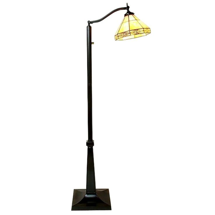 Warehouse of Tiffany 58 in. Mission White Reading Brown Floor Lamp with Foot Switch