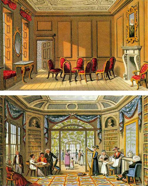 The Ancient Cedar Parlour and the Modern Living Room from Humphry Repton's Fragments of 1816. From Patrick Baty.