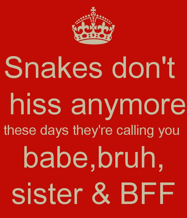 Snakes don't hiss anymore these days they're calling you babe,bruh, sister & BFF