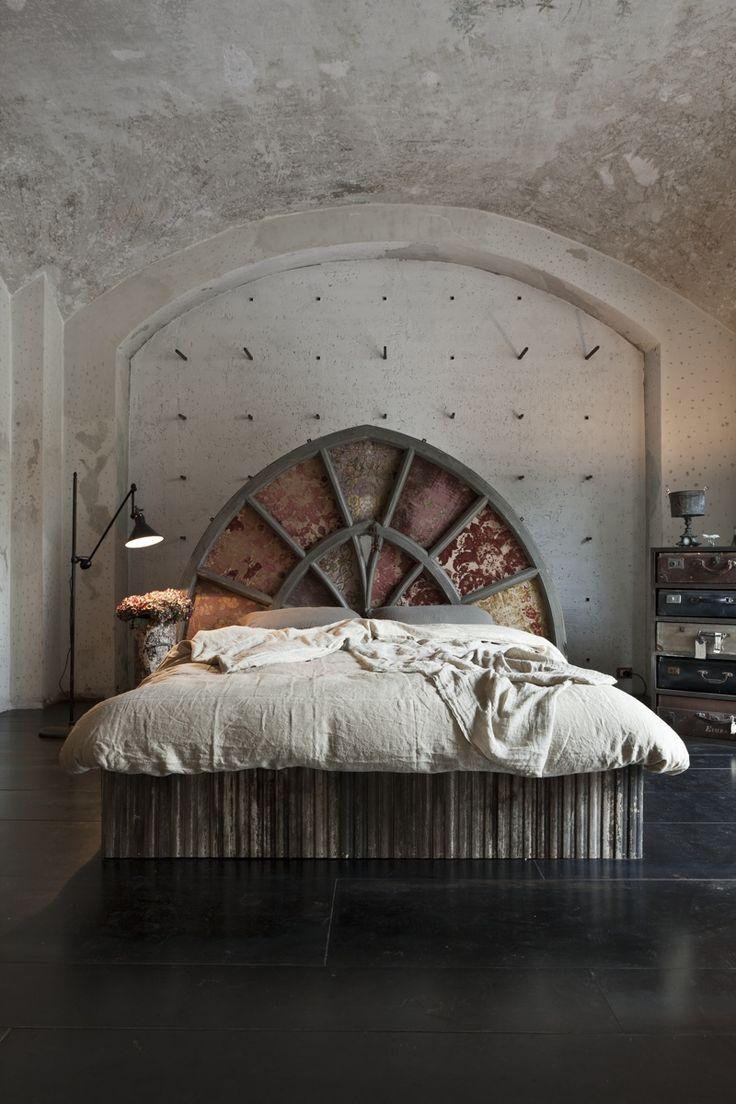 arch headboard + rustic