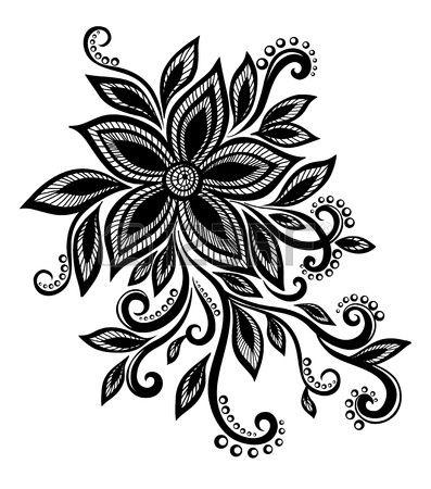 beautiful flower in black and white with imitation lace, eyelets, design element.  Many similarities in artist profile Stock Photo Copyright: Yevheniia Hulinska