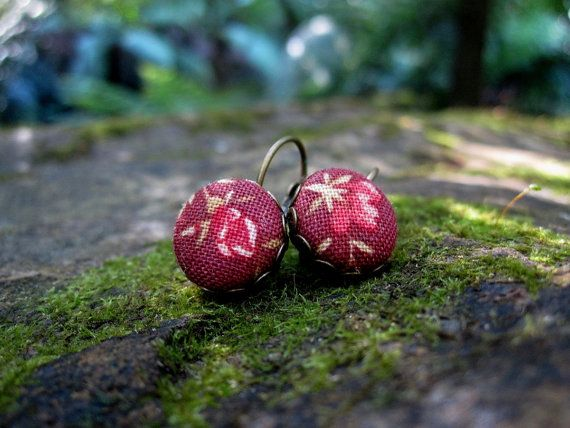 Hanging Earrings  Autumn Blossom by Zoes Button Emporium and available at the #etsymadelocal Markets, Canberra.
