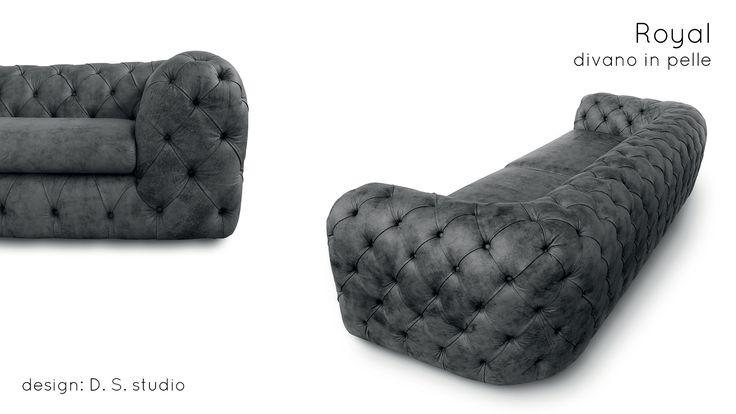 Un divano in pelle da RE - collezione Empiorio ROYAL di Doimo Salotti.