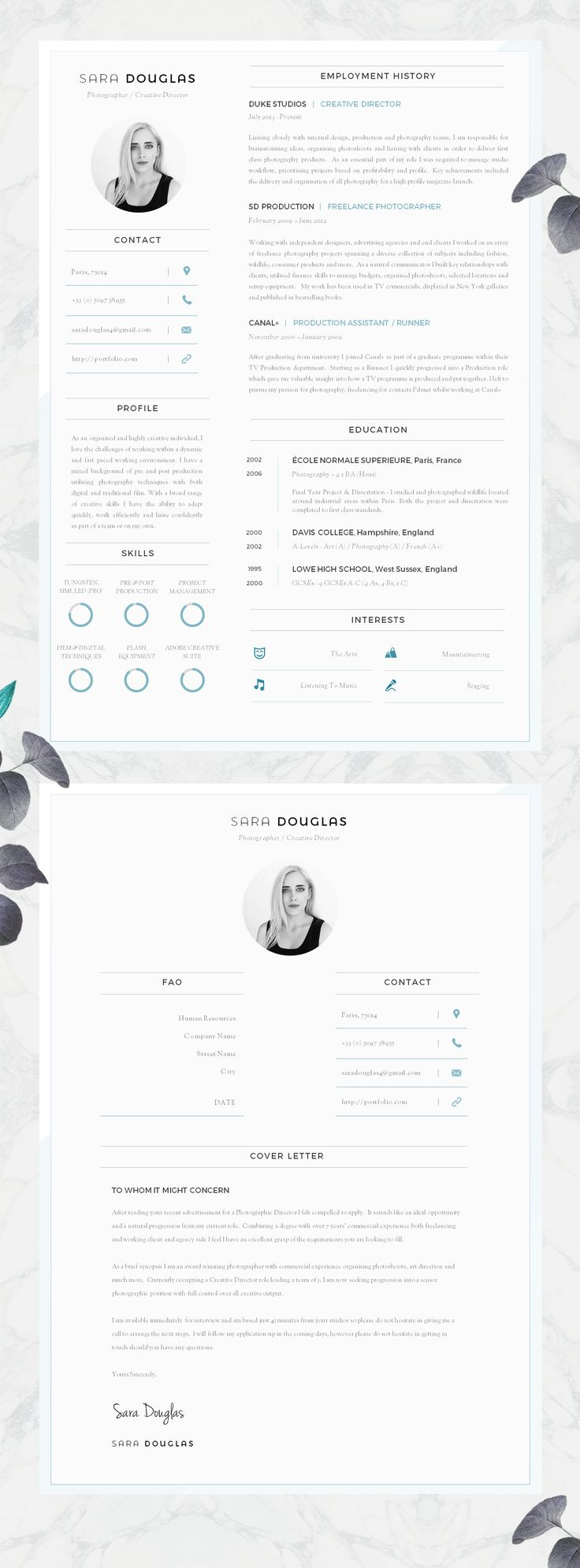 Modern CV Design | Resume Design   Must Do Career Project #Etsy #CV #