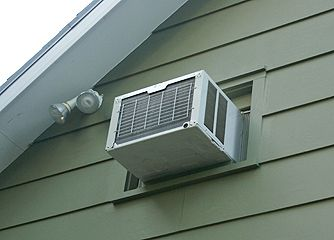 Window Air Conditioner Installed Through Wall Outdoor