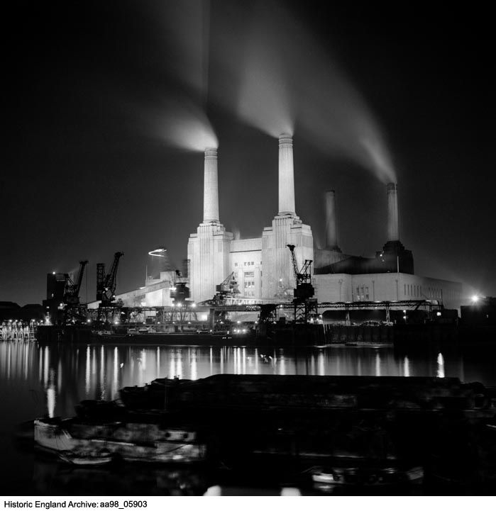 AA98/05903 General view of Battersea Power Station from the north bank of the Thames. Date:1945 - 1980 Photographer: Eric De Mare.  Please click for more information or to search our catalogues.