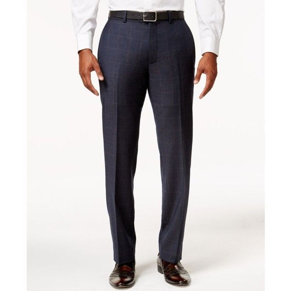 Bar Iii Men's Slim-Fit Navy and Tan Windowpane Dress Pants, ($100) ❤ liked on Polyvore featuring men's fashion, men's clothing, men's pants, men's dress pants, navy, old navy mens pants, mens tan pants, mens dress pants, mens slim fit suit pants and mens suit pants