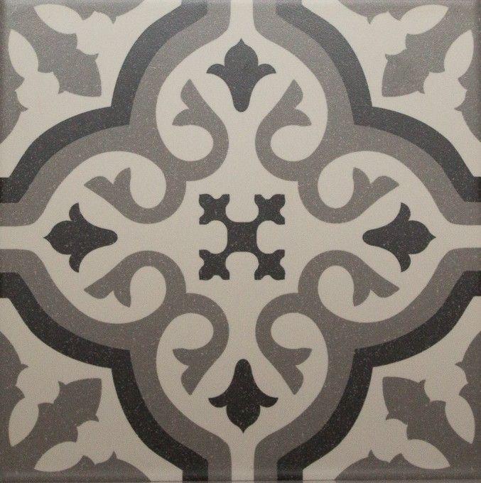Carrelage imitation carreau ciment sol et mur blanc 20 x 20 cm - FL0115002, 35€ le m², Comptoir du Cérame