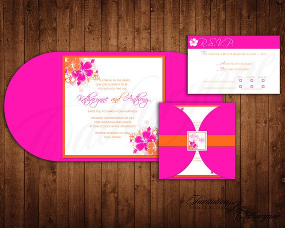 Tropical Wedding Invitations Pink and Orange by catharynne on Etsy