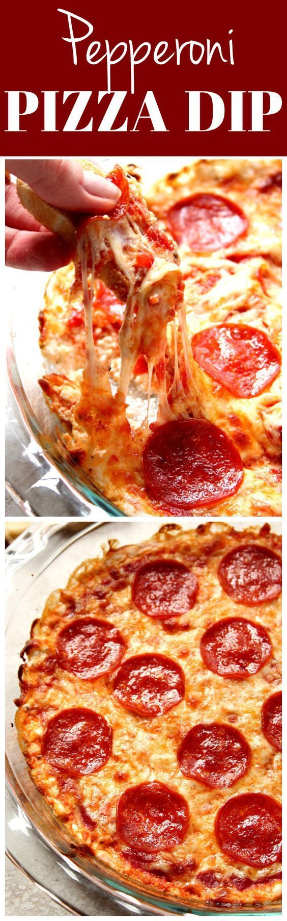 Pepperoni Pizza Dip recipe - super easy and absolutely irresistible dip for pizza lovers! This hot and bubbly appetizer will be the hit of your next game day party!