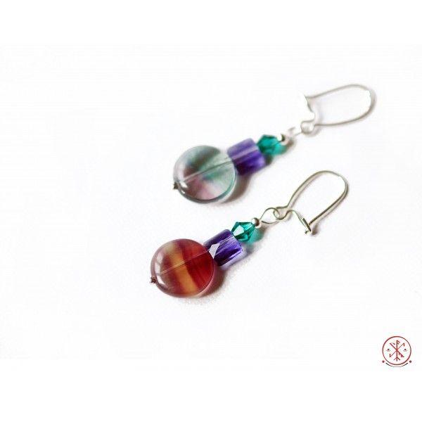 Fluorite/ swarovski silver earrings
