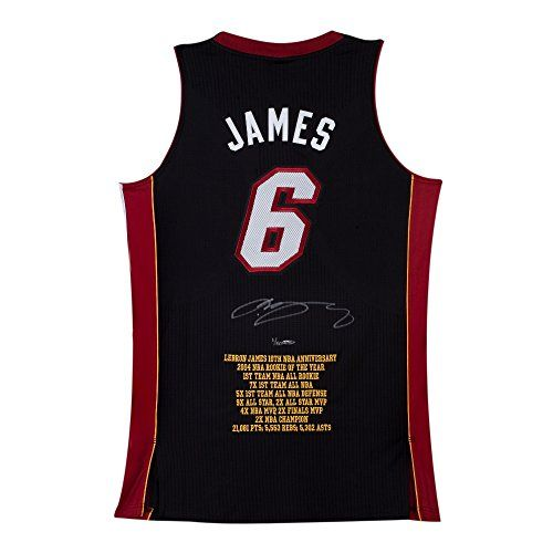 Lebron James Signed Autographed Stat Jersey 10th Ann. Road Black /50 Heat UDA ** See this great product.