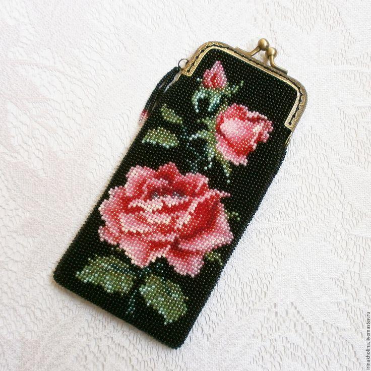 Купить Очечник из бисера Королевская роза - Очечник, очечники, очечник из бисера, очечник с фермуаром, очешник