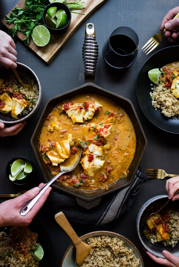 Coconut Tomato Curry With Cod Brown Rice