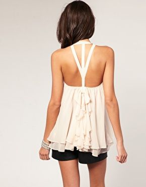 back - lovee: Summer Shirts, Outfits, Cute Tops, Asos, Ruffles Bows, Tanks Tops, Pretty, Open Back, Back Details