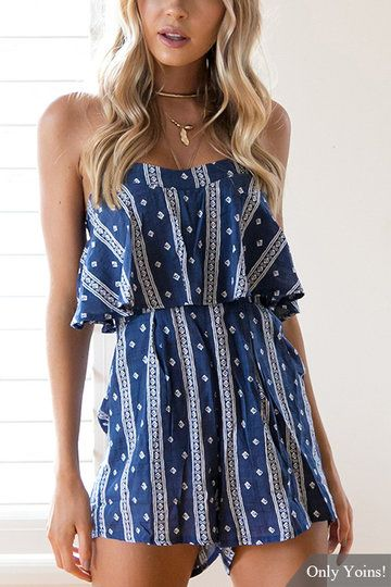 Stripe Pattern Strapless Playsuit in Navy US$11.99