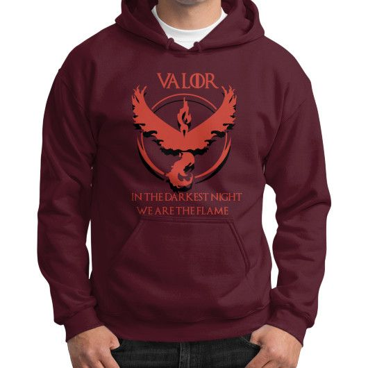 Team Valor - In Darkest Night We are the Flame Gildan Hoodie (on man) Shirt. Pokemon Go's Team Valor is represented by Moltres. (Pokemon Wiki) 9GAG has the best funny pics, gifs, videos, gaming, anime, manga, movie, tv, cosplay, sport, food, memes, Gildan hoodie (18500) is made of 50% Cotton,...