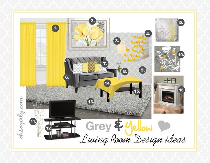 yellow and grey living room interior design idea inspiration #gray #stylish retro style sitting room #home