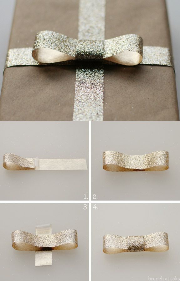 Creating the Perfect Bow with Glitter Ribbon - perfect for Xmas pressies or any pressies...x