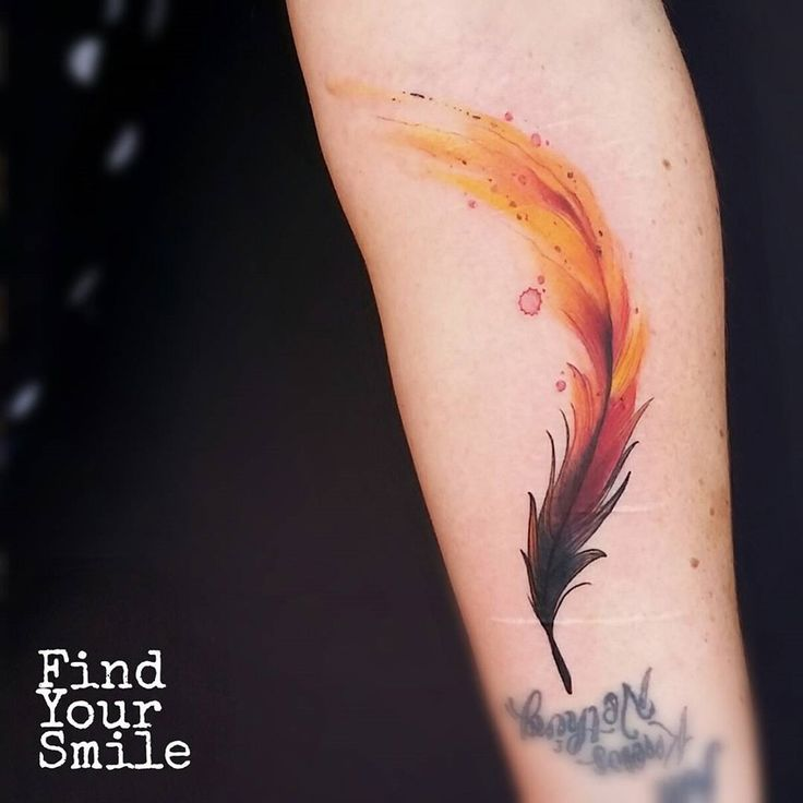 Want this on my thumb...! Phoenix Feather Forearm Piece | Best Tattoo Ideas & Designs