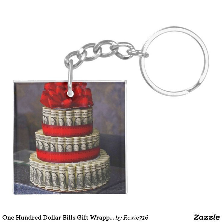 One Hundred Dollar Bills Gift Wrapped Keychain | Z…