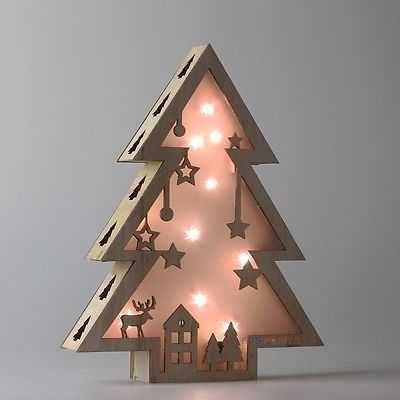 40cm Tall Wooden LED Light Up Star Xmas Tree House Christmas Design