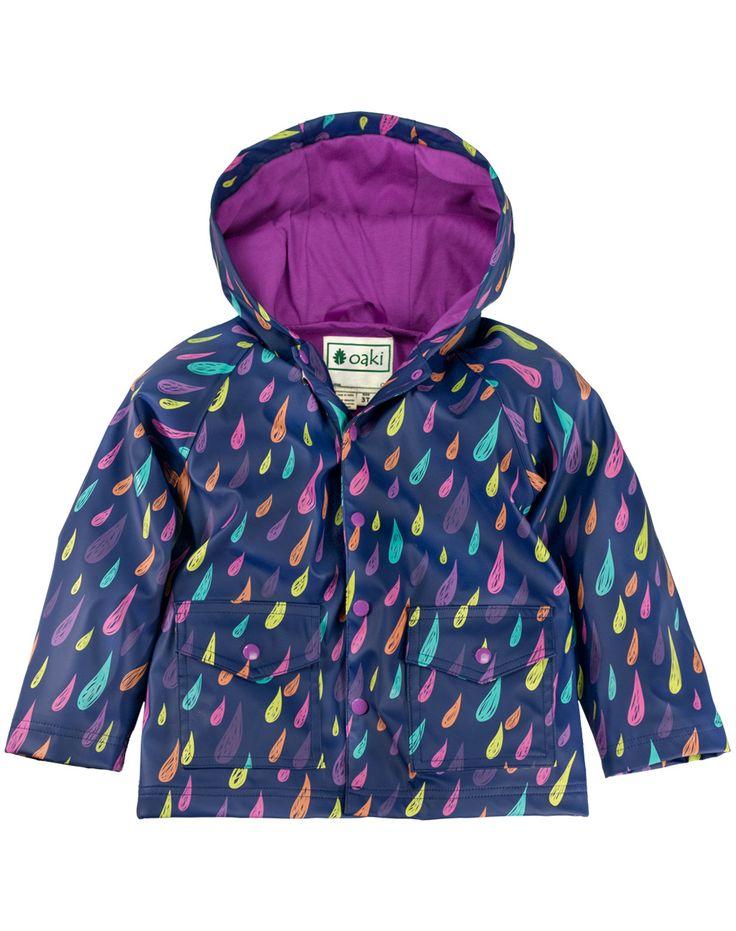 Oakiwear Children's Rain Jacket w/ Soft Lining & Easy on Snaps, Raindrops | Oaki - Rain Gear, Kids rain suits, kids waders, kids rain gear, and kids rain coats