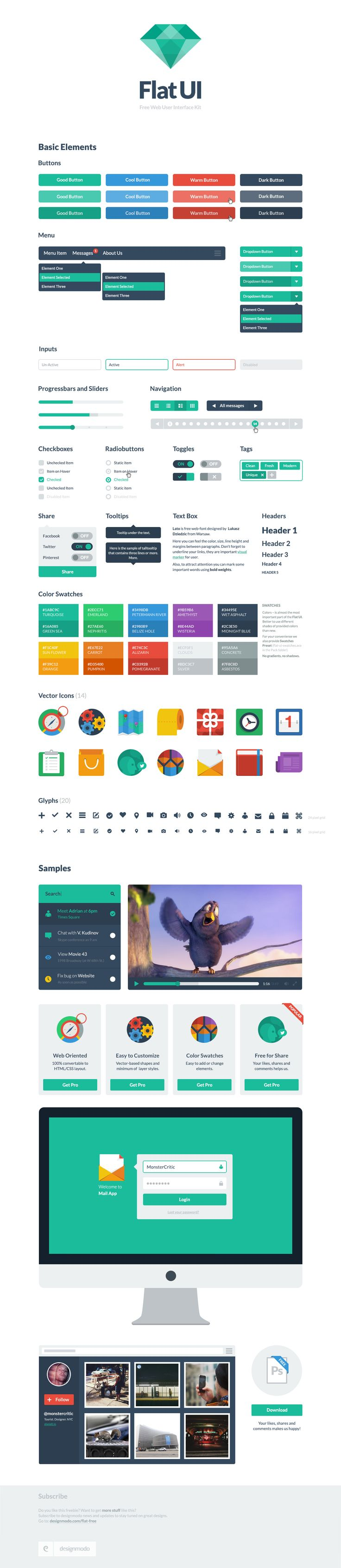 Flat UI Free Bootstrap Kit. If you haven't been playing with this, you're not a designer.