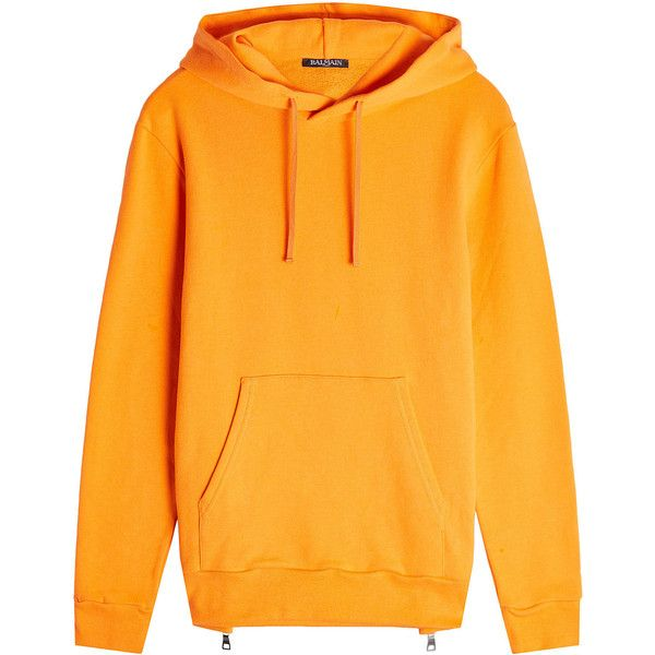 Balmain Cotton Hoodie ($655) ❤ liked on Polyvore featuring tops, hoodies, orange, cotton hooded sweatshirt, zipper hoodie, yellow hoodie, yellow hooded sweatshirt and cotton hoodie