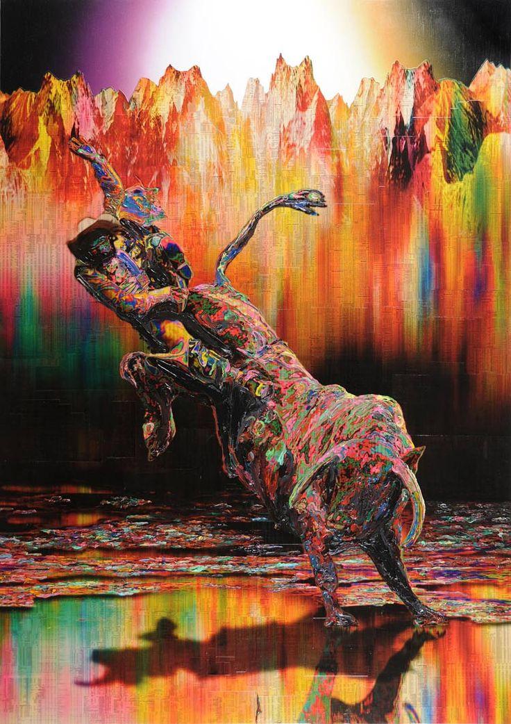 Minotaur 3  Stock listings, Ink, acrylic gel and spray on sail cloth  59.5 x 85 inches / 153 x 218cm / 2009