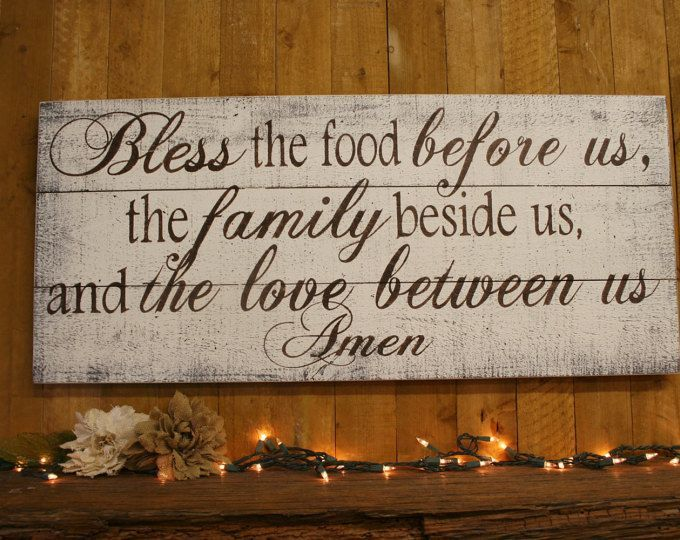 Bless The Food Before Us Wood Kitchen Sign Dining Room Sign Pallet Wood Sign Rustic Chic Kitchen Shab Rustic Chic Kitchen Shabby Chic Diy Vintage Kitchen Signs