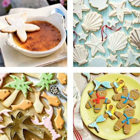Bake Decorative Cookies! Coastal Beach Cookie Recipes for the Holidays and Christmas Season: http://www.completely-coastal.com/2015/11/coastal-beach-christmas-cookie-recipes.html