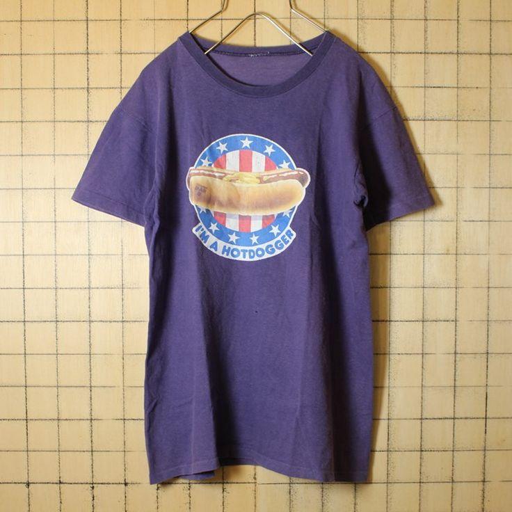 古着 プリント Tシャツ USA製 パープル プリント ホットドッグ 半袖 レディースサイズ ts492