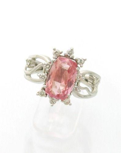 Anel Com Pedra Topazio Imperial E Brilhantes Naturais J6676 - R$ 1.599,00