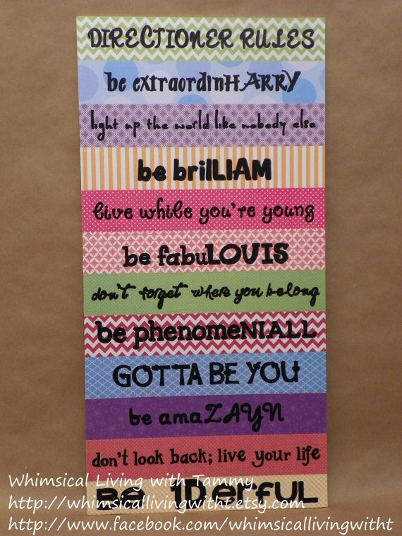 Directioner Rules Whimsical Living With Tammy Whimsicallivingwithtetsy 12x24 Sign