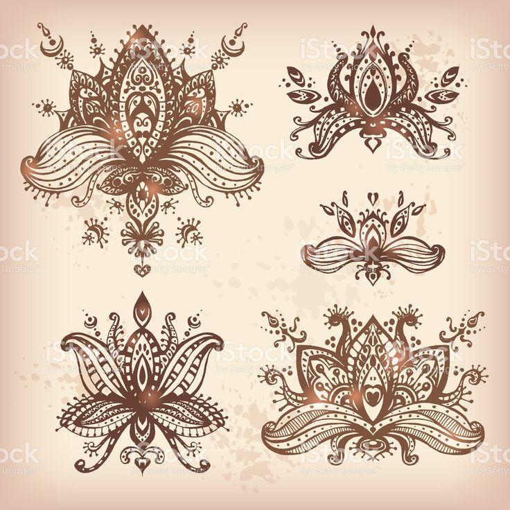 Вектор Нарисованный от руки набор элементов Лотос Хна с цветочным рисунком