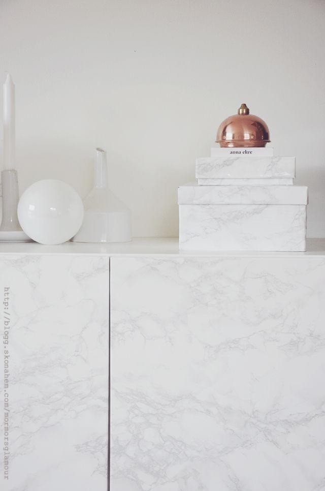 Gör om skolådor till trendiga marmorlådor | DIY Mormorsglamour