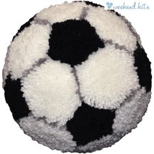Latch Hook Kit   Huggables Latch Hook Rug   Soccer Ball Pillow