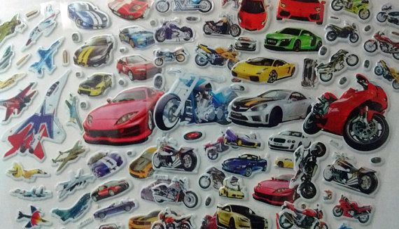 5 Sheets of Puffy Airplane, Car and Motorcycle stickers at the FrancisRoyal Etsy shop. https://www.etsy.com/shop/FrancisRoyal Just $1.25 for all five! #kidsdiy Great for kids crafts!
